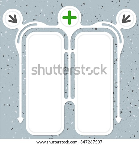 Two connected frames for your text and plus symbol - stock vector