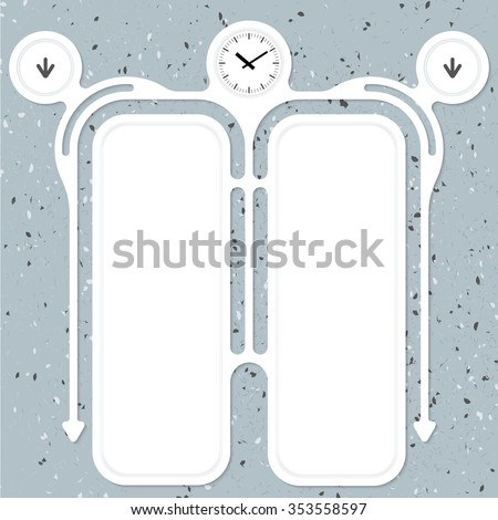 Two connected frames for your text and watches - stock vector