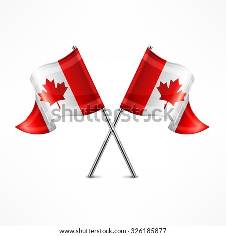 Two crossed Canadian flag isolated on white, vector illustration - stock vector
