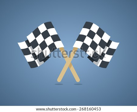 Two crossed checkered racing flags in flat style. Vector illustration. - stock vector