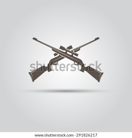 Two crossed hunting rifle, sniper rifle isolated vector element - stock vector