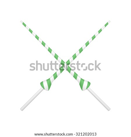 Two crossed lances in green and white design - stock vector