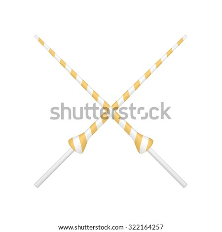 Two crossed lances in orange and white design - stock vector