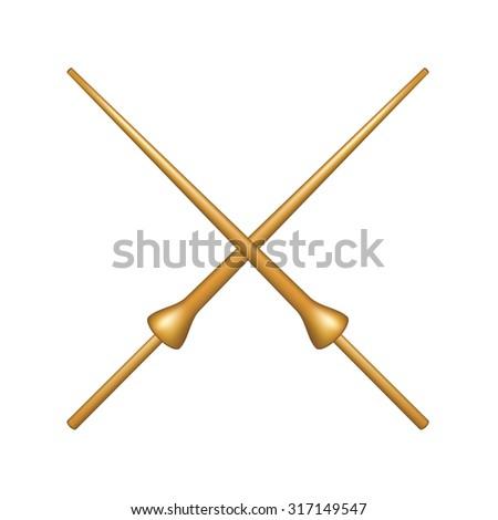 Two crossed lances in wooden design - stock vector