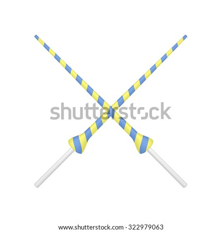 Two crossed lances in yellow and blue design  - stock vector