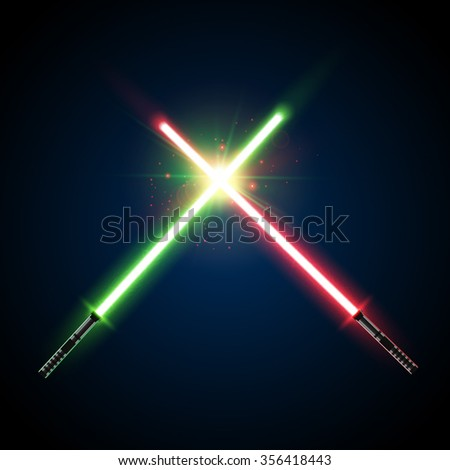 Two Crossed Light Swords Fight. Green and Blue Crossing Lasers. Design Elements for Your Projects. Vector illustration. - stock vector