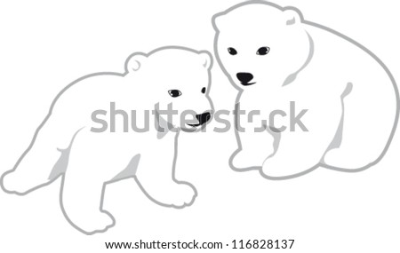 Two cubs of white polar bear - stock vector