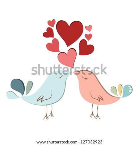 Two cute bird lovers on pink hearts shaped - stock vector