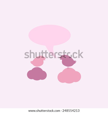 Two cute birds on sitting on clouds with speech bubble and space for you own text isolated on light pink background. For invitations, greeting cards, postcards - stock vector