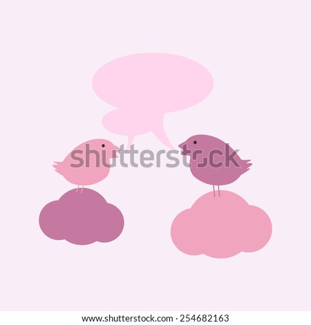 Two cute birds on sitting on clouds with two speech bubbles and space for you own text isolated on light pink background. For invitations, greeting cards, postcards - stock vector