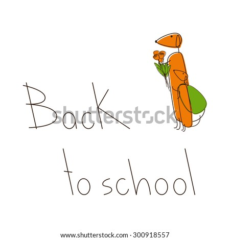 Two cute brown contoured foxy colored dachshunds. One with bouquet of flowers and puppy standing near with green backpack. Lettering Back to school isolated on white background - stock vector