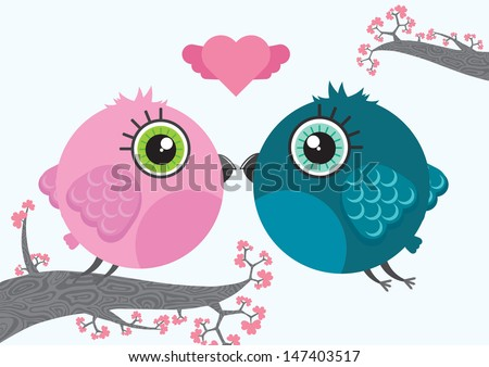 Two cute cartoon birds characters with heart above them. Branches full with flowers on the background. Illustration made in Kawaii style. Vector illustration. - stock vector