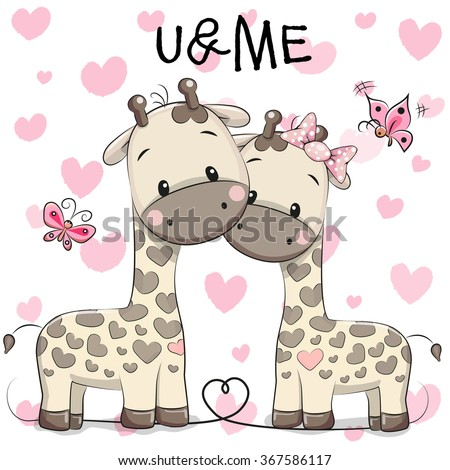 Two cute giraffes on a hearts background - stock vector
