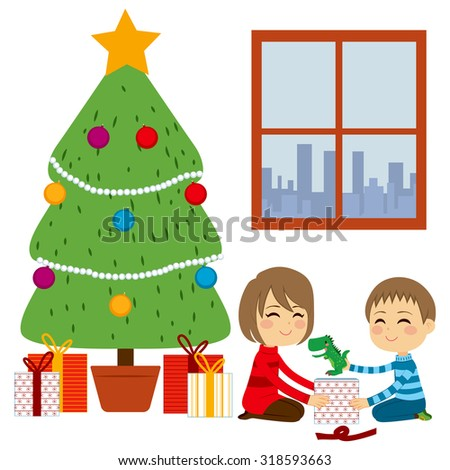 Two cute happy siblings children opening gifts together from Christmas Tree - stock vector