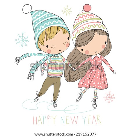 Two cute kids at ice skating. Christmas card. - stock vector