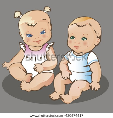 Two cute little babies. European dressed boy and girl. Colorful vector illustration on gray background. - stock vector