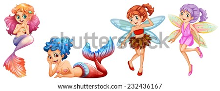 Two cute mermaids and two fairies - stock vector