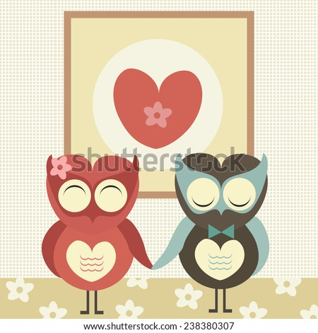 Two cute owls in love with heart sign above them. Valentine's day card. Vector illustration. - stock vector