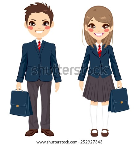 Two cute teenage brother and sister students standing together with uniform and holding suitcase - stock vector