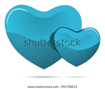 Two cyan hearts isolated on white vector illustration. - stock vector