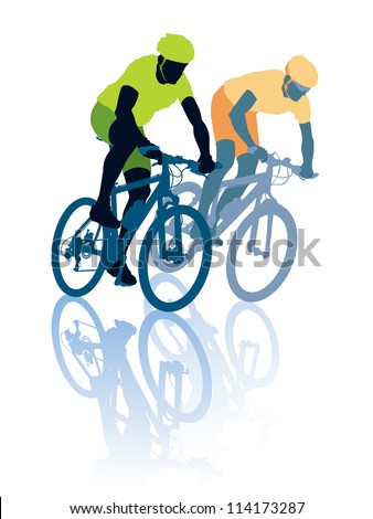 Two cyclists in the bicycle race. Sport illustration. - stock vector