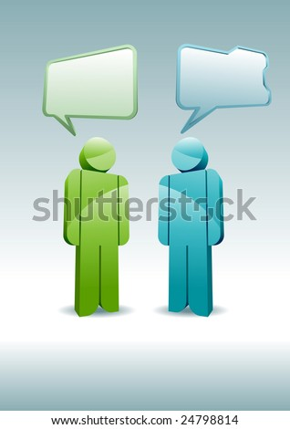 Two 3D characters having a discussion. - stock vector