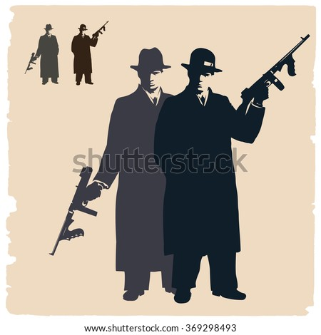 Two dark silhouettes of gangsters. - stock vector
