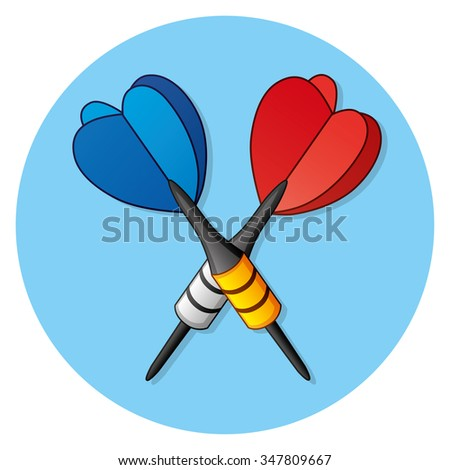 Two darts icon on a blue background. - stock vector