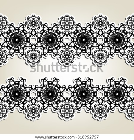 Two decorative graphic horizontal borders. Abstract black and white friezes with stylized floral elements.  - stock vector