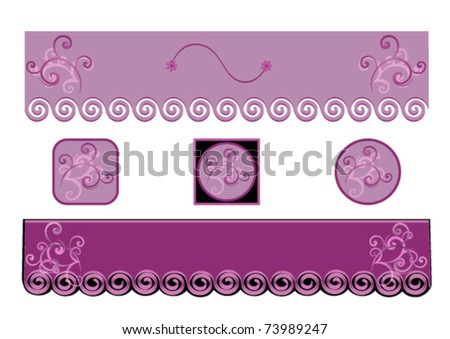 Two  Decorative Purple  Banner  or Website Headliner and Buttons eps 10 with gradient. - stock vector