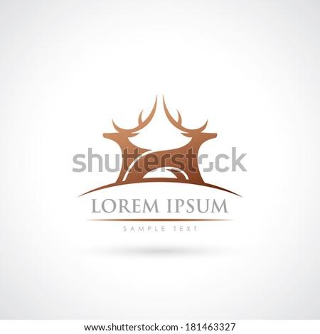 Two deers symbol - vector illustration - stock vector