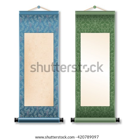 Two deployed ancient hanging scroll Shikishi isolated on white background. Floral patterns with birds on scroll. There is a place for your text, calligraphy or painting. Colored vector illustration. - stock vector