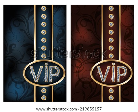 Two diamond VIP cards, vector illustration - stock vector