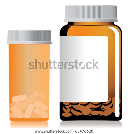Two different bottles of pills. - stock vector