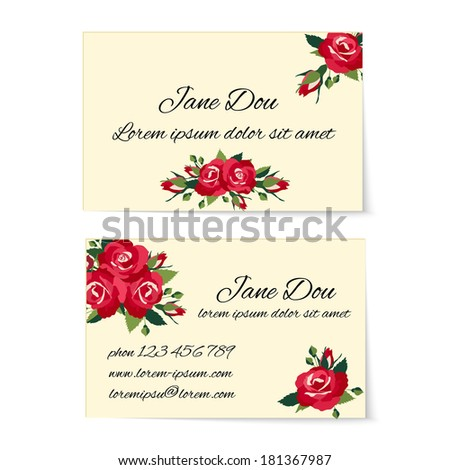 Two different business card templates decorated with stylish bunches of red roses with foliage and buds in an elegant design wit copyspace for contact details  marketing and credentials - stock vector