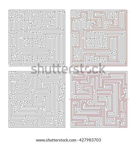 Two different mazes of high complexity on white and solution with red paths - stock vector