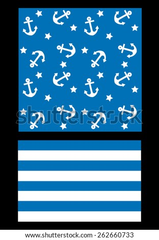 two different pattern with marine theme - stock vector