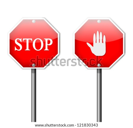 Two Different Red Stop Signs - stock vector