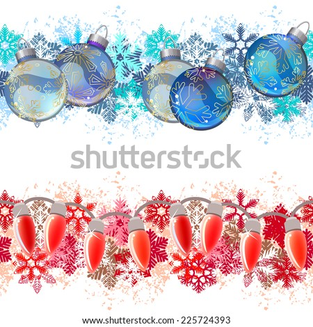 Two different seamless christmas borders.  Ideal for realistic decoration. Endless texture can be used for horizontal wallpaper,  web page background, greeting cards, invitations. Vector illustration - stock vector
