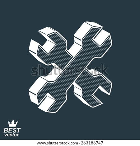 Two dimensional spanners crossed vector illustration. 3d engineering design element  manufacturing tools. Repair theme icon. - stock vector