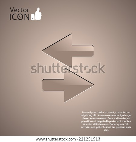 Two directional arrows on the background. Made in vector - stock vector