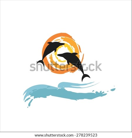 Two dolphin, sea and sun - stock vector