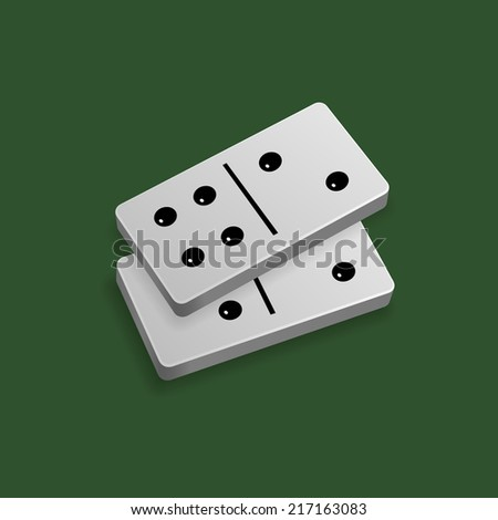 Two domino blocks. Number six. Isolated on green background. Vector illustration, eps 10. - stock vector