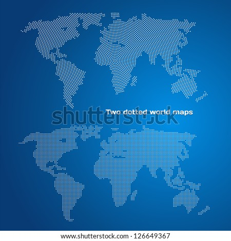 Two dotted world maps - stock vector
