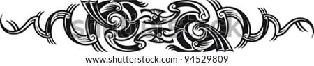 Two dragons. Maori styled tribal tattoo pattern. Vector illustration. - stock vector
