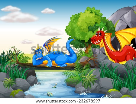 Two dragons out in the nature - stock vector