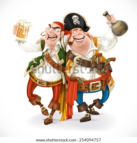 Two drunk pirates are drinking holding each other isolated on white background - stock vector