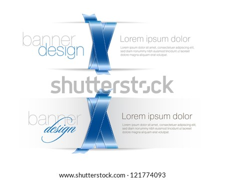 Two elegant white vector banners braided with silky glossy blue ribbons - stock vector