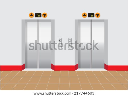 two elevators doors with buttons and level screen vector illustrations - stock vector