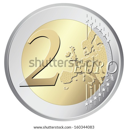 Two euro coin vector illustration isolated on white background - stock vector